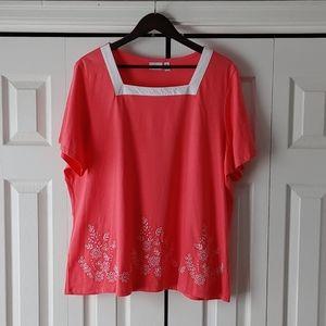 Kim Rogers 100% cotton t-shirt 3xl salmon coral